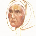 "The Elder by Claire Fejes. Oil on canvas, 20"" x 16""- dated 1984. Athabascan Indian Elder from Nenana, Alaska."